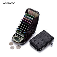 Lomelobo Split Leather Card Wallet Women & Men Alligator Coin Purse Credit ID Card Holder Female Male Lady Bank Cards Wallet Hot(China)