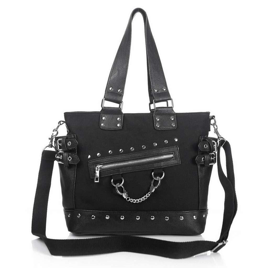 Image 2 - Rock Style Rivet Handbag Fashion Women Punk Casual Tote Zipper  Chain Female Motorcycle Shoulder Crossbody BagShoulder Bags   -
