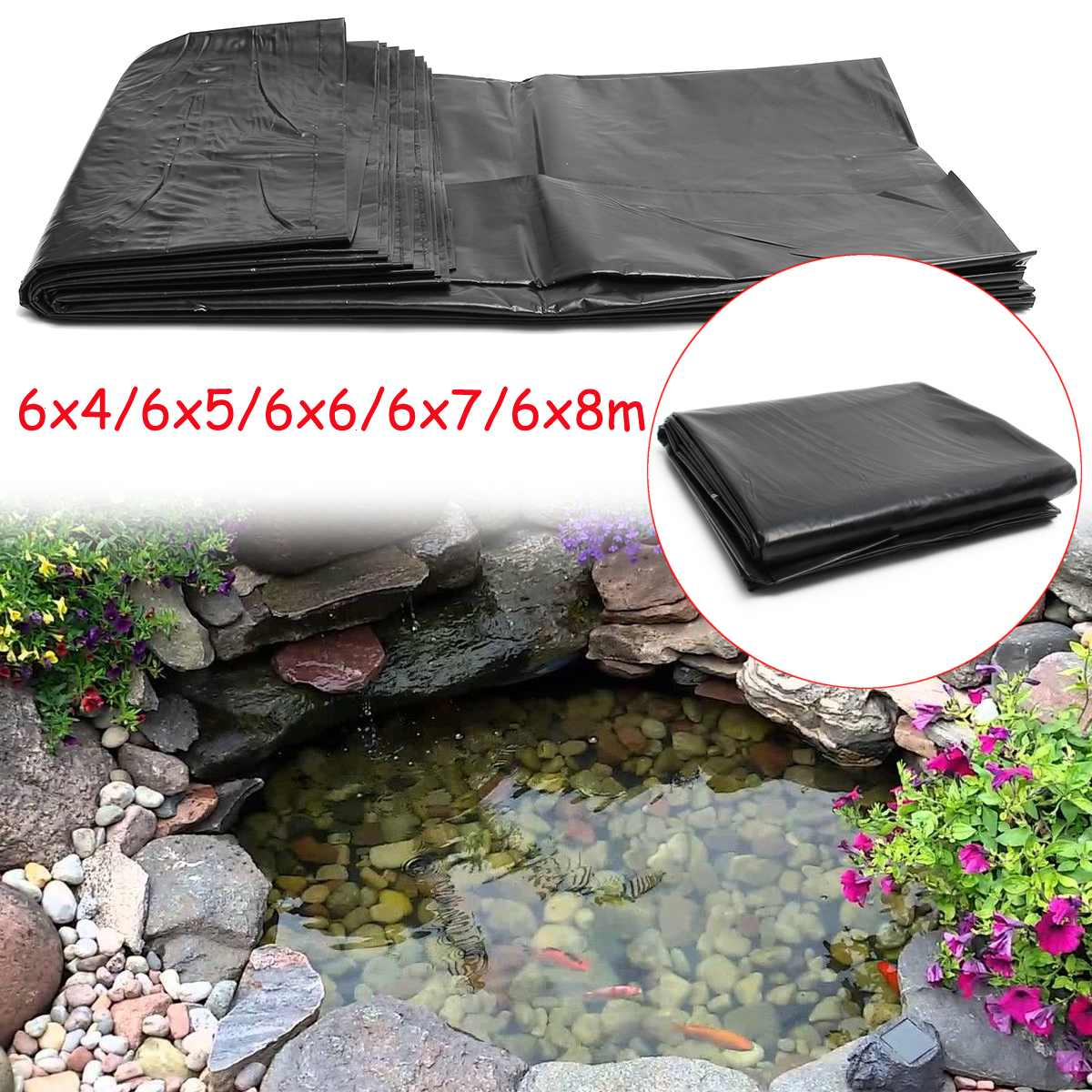 Pond Liner HDPE Rubber Cloth Membrane Landscaping-Pool-Thick Fish Waterproof 6x5m/6x4m