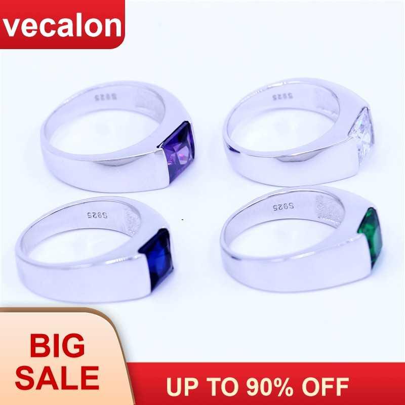 Vecalon 4 צבעים אבן המזל גברים טבעות נסיכה לחתוך 3ct 5A זירקון Cz 925 כסף סטרלינג אירוסין נישואים טבעת עבור גברים