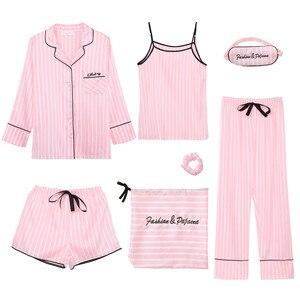 Image 4 - Conjunto de Pijama de 7 piezas para mujer, ropa de dormir Sexy de imitación de seda, Pijama de rayas, para el hogar, Primavera