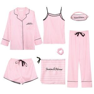 Image 4 - Womens 7 Pieces Pajama Set Emulation Silk Striped Pajamas Women Sleepwear Home Clothes Sexy Pijama Night Suit Spring Pyjamas