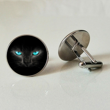 Glass Cufflinks black cat handmade family photo DIY jewelry custom glass gift mysterious
