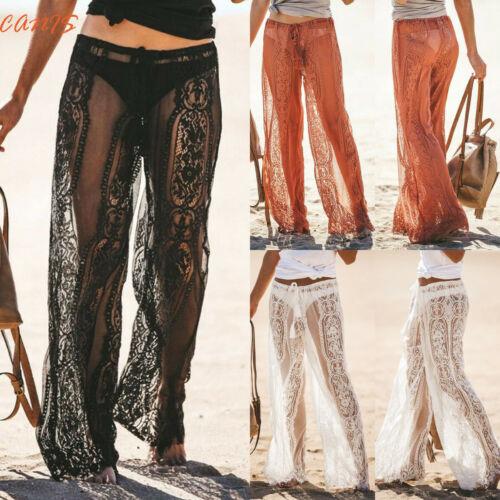 2019 Women Lace   Wide     Leg     Pants   High Waist See Through Long Beach   Pants   Trousers