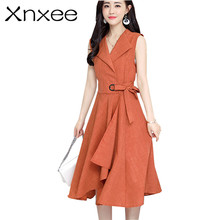 Xnxee 2019 new fashion Summer Dress Sleeveless work OL women dress casual A-Lin v-neck cotton Linen dress vestidos de festa недорго, оригинальная цена