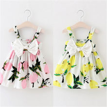 Dress Girls 2019 Summer Sleeveless Sundress Lemon Print Baby Girls Dresses Baby Kids Clothes Yellow Pink Outfits Birthday Gifts(China)