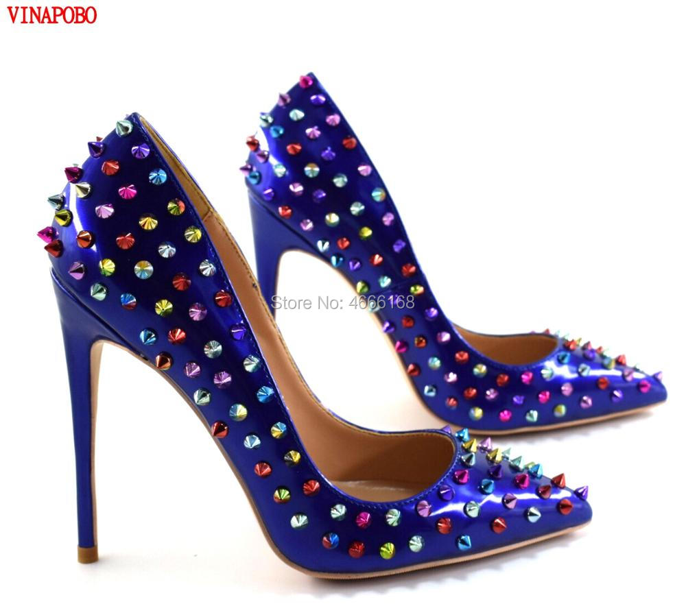 Vinapobo Rivets Women Sexy Pointed Toe Pumps stiletto High Heels Shoes Women Ladies Patent Leather Fashion Party Wedding shoes