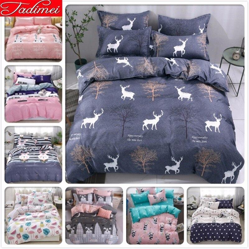 Duvet Cover Sheet Pillow Case 3/4 Pcs Bedding Set Adult Kids Child Soft Cotton Bed Linen Single Full Queen King Size Bedspreads