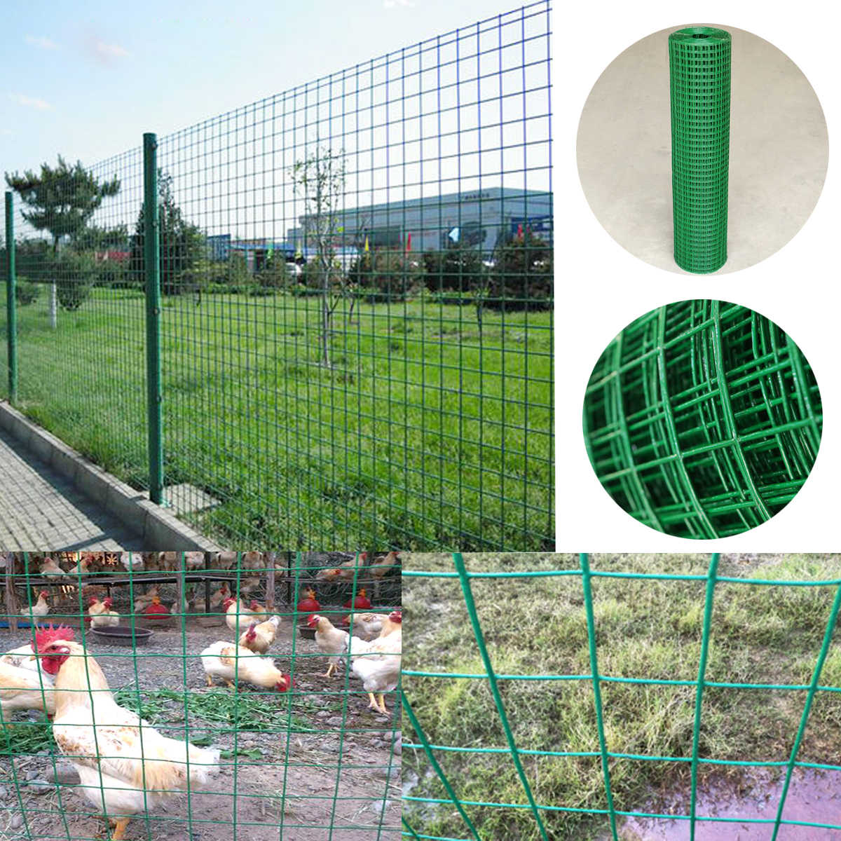 "40"" x 98' 1m/1.2m  Steel PVC Coated Mesh Galvanized Poultry Netting 13 Gauge Chicken Wire Fence Mesh Fencing"