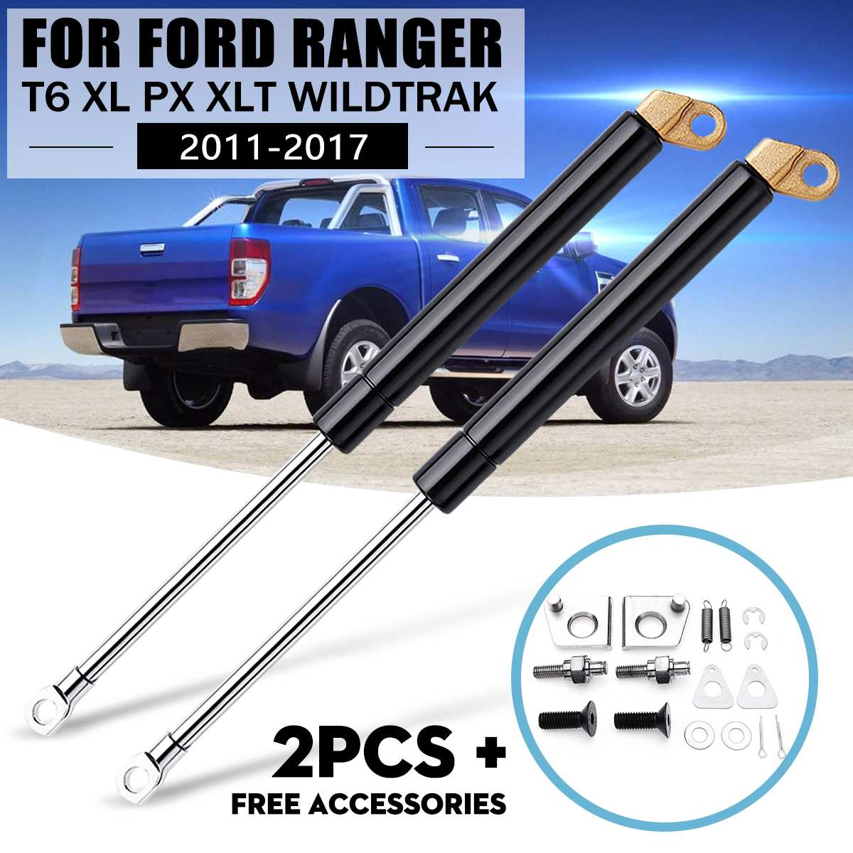 1 Pair Rear Gate Strut Shock Gas Slow Down Left And Right For Ford For Ranger T6 Xl Px Xlt Wildtrak 2012 2013 2014 2015 2016