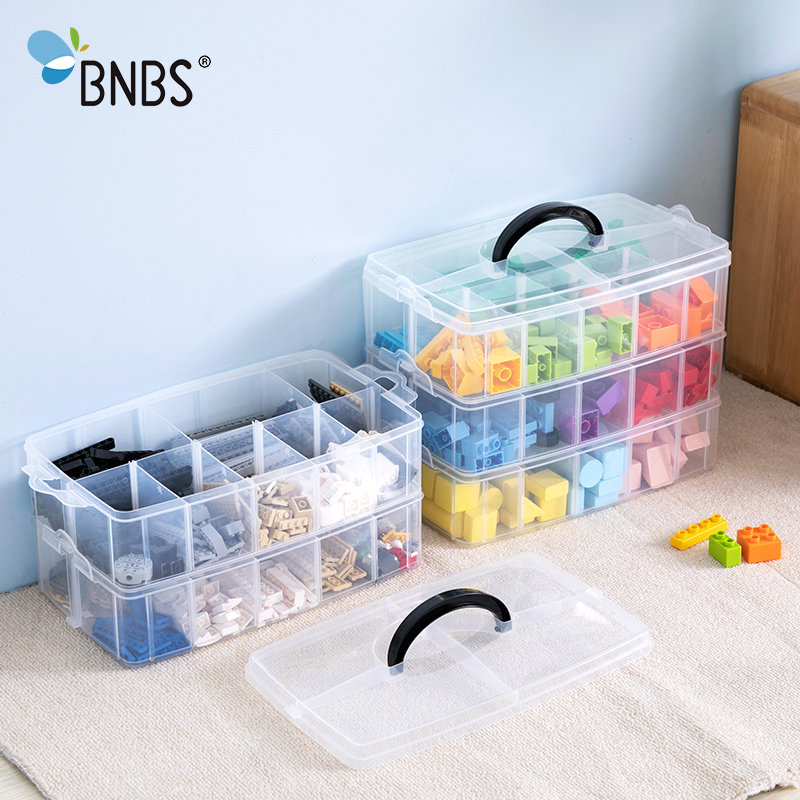 BNBS Building Blocks Toy Box Plastic Box Transparent Jewelry Organizer Scrapbooking Storage 2/3 Layer Suitcase For Tools box