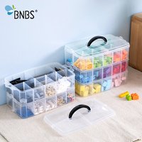 BNBS Building Blocks Toy Box Plastic Box Transparent Jewelry Organizer Scrapbooking Storage 2/3 Layer Suitcase For Tools