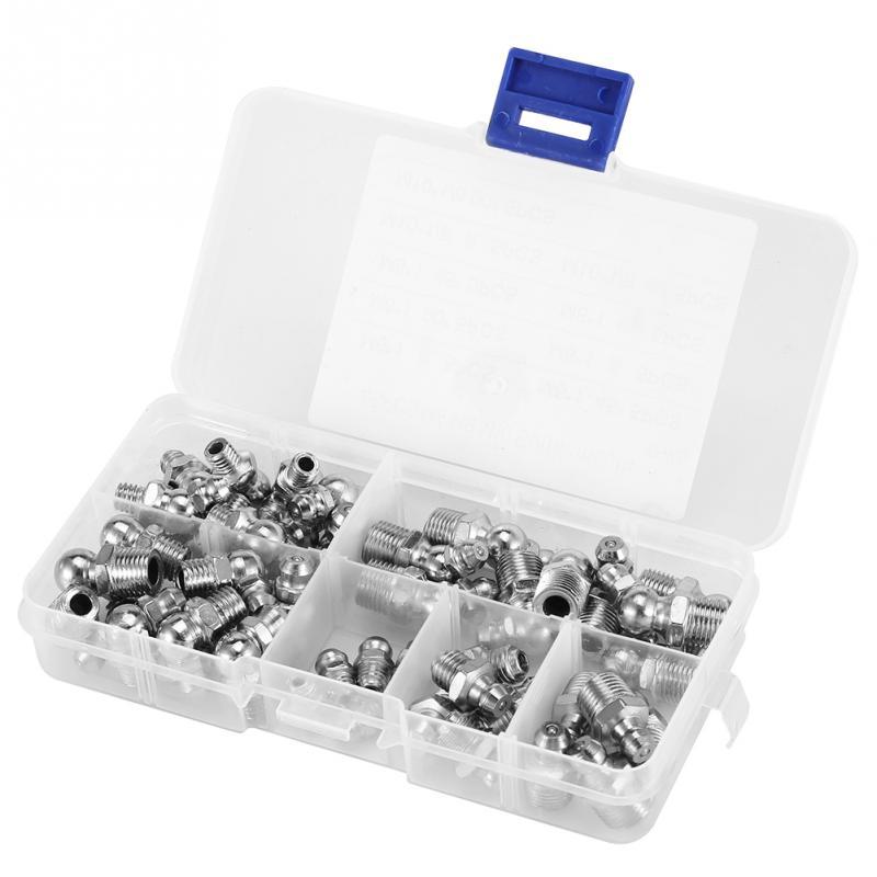 45Pcs M6/M8/M10 Durable Metal Brass Zerk Grease Nipple Fitting Hardware Assortment Kits