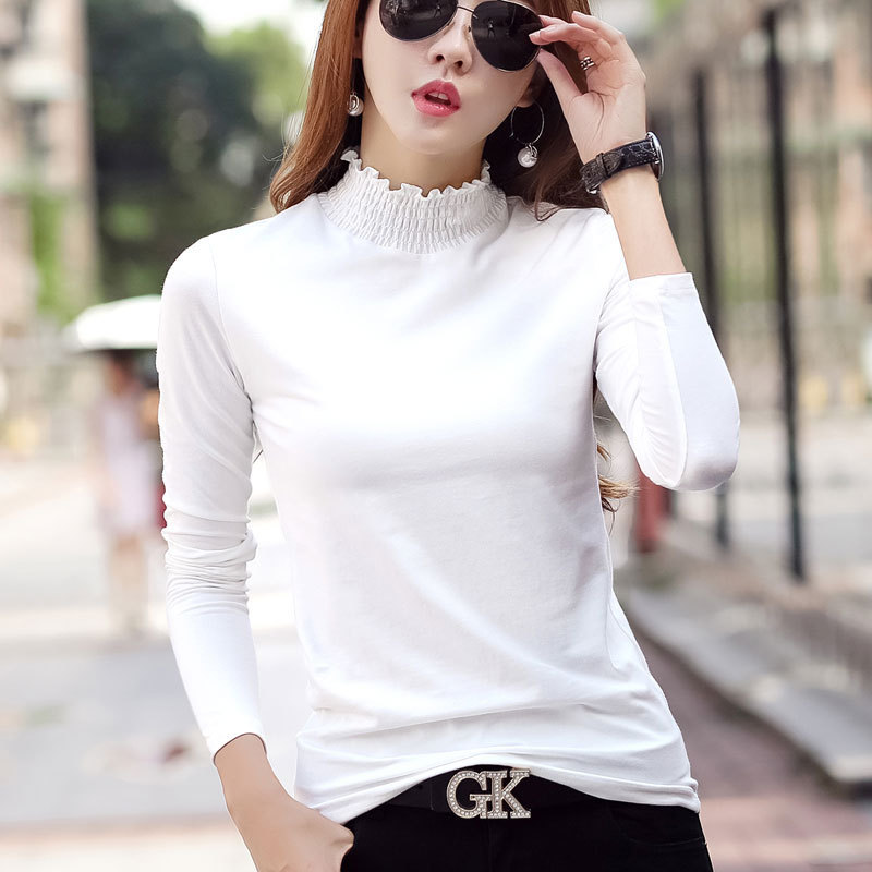 #1636 Spring Autumn Korean Fashion Turtleneck Long Sleeve T Shirt Ruffled Collar Cotton Solid Color Slim T shirts Femme S-3XL