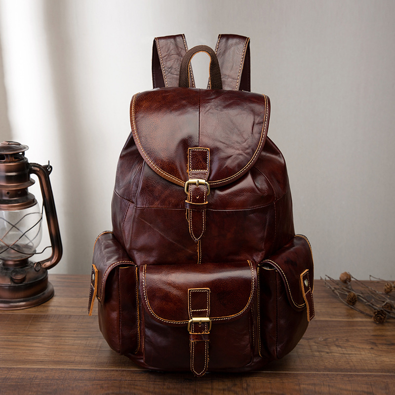 Genuine Leather Rucksack Knapsack Male Computer Bag Vintage School Daypack Bags High Quality Oil Wax Cowhide Men Backpack