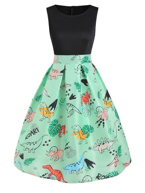 Wipalo Vintage Women Dinosaur Print Sleeveless A Line Dress Summer New Fashion O Neck Knee Length Dress Vestidos Women Clothings 6