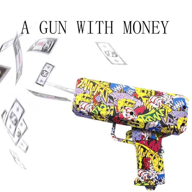 1PCS Money Gun Fashion Pink Toy Birthday Gift Party Toys Game Cash Cannon Funny Money Gun Toy Pistol Toy