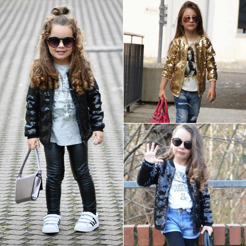 HIRIGIN Newest Fashion Toddler Kids Baby Girl Sequin Shining Zipper Jackets Tops Outwear Autumn Slim Bling Pop Coat 1-5Y