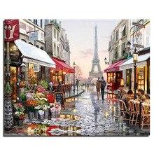 Romantic Paris City Landscape DIY Handpainted Oil Painting Digital By Numbers Paintings Scroll