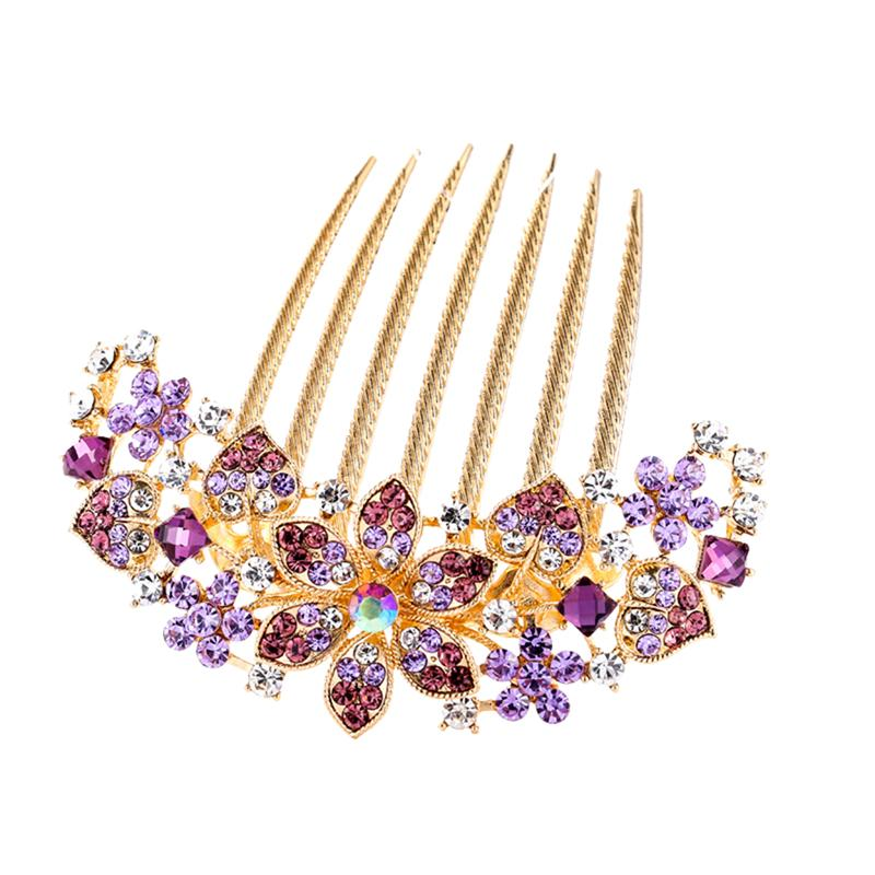 1 Pc Hair Comb Delicate Purple Crystal Bridal Headdress Hair Accessory Inserted Comb For Daily Use Wedding Banquet