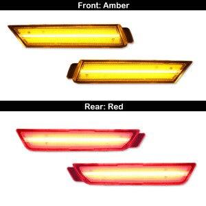 Image 4 - IJDM 12 В янтарные/красные боковые габаритные огни для Chevy Camaro 2010 2015 (передние: янтарные, задние: красные) Питание 96 светодиодов SMD
