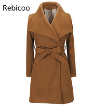 цена на Women Jackets  Elegant Wool Blends Pocket Bow Tie Belt Coat Fashion Streetwear Solid Big Collar Slim Ladies Blend Coat