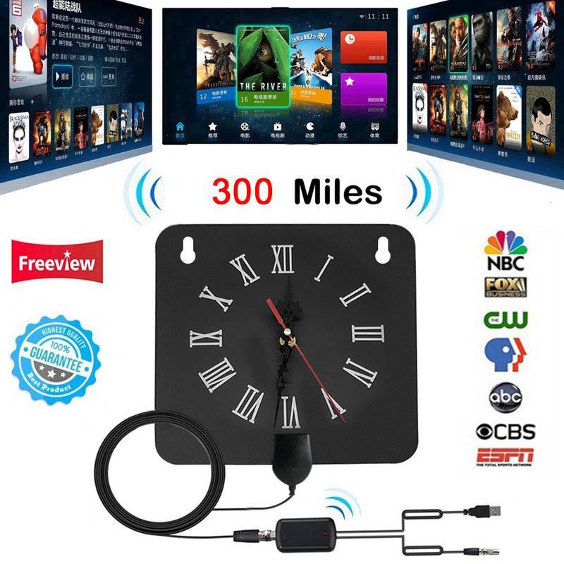 300 Miles Indoor Digital TV Antenna Alarm Clock Style With Signal Amplifier Booster Receive Free Towers Broadcast HDTV Antenna