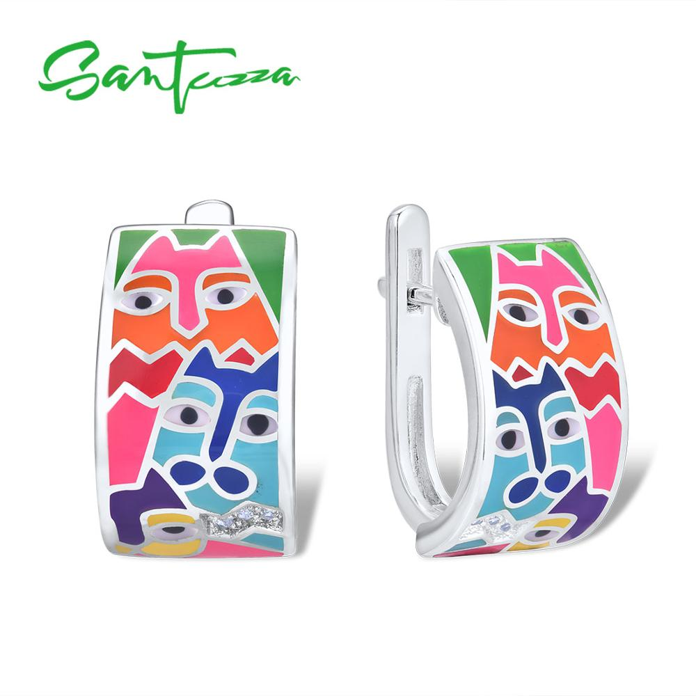 SANTUZZA Silver Earrings For Women 925 Sterling Silver Shiny White CZ Handmade Enamel Lovely Cat Unique Earrings Fashion Jewelry