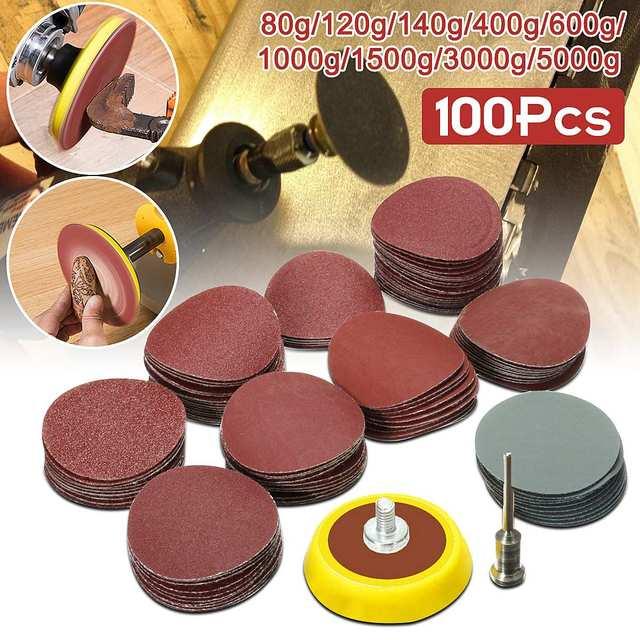 100 piezas 25mm/1 pulgada papel de lija + 1 piezas 1 pulgada bucle gancho Backer placa 1/8 pulgadas mango + 1 piezas de lijado de abrasivos mixto pulido