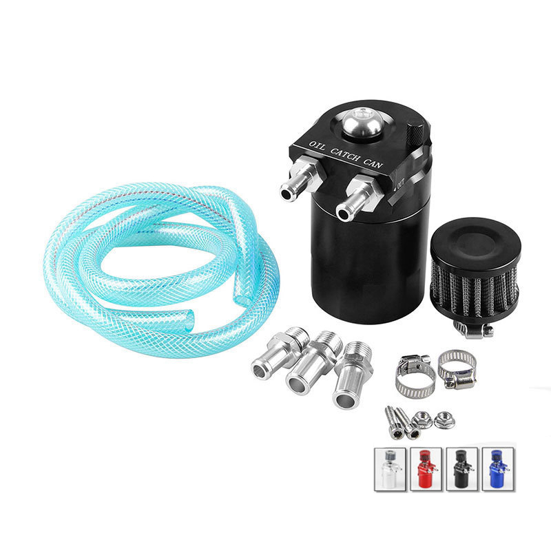 Universal 300ML Aluminum Car Engine Oil Catch Can Kit Air Oil Separator Tank Cylinder Baffled Reservoir
