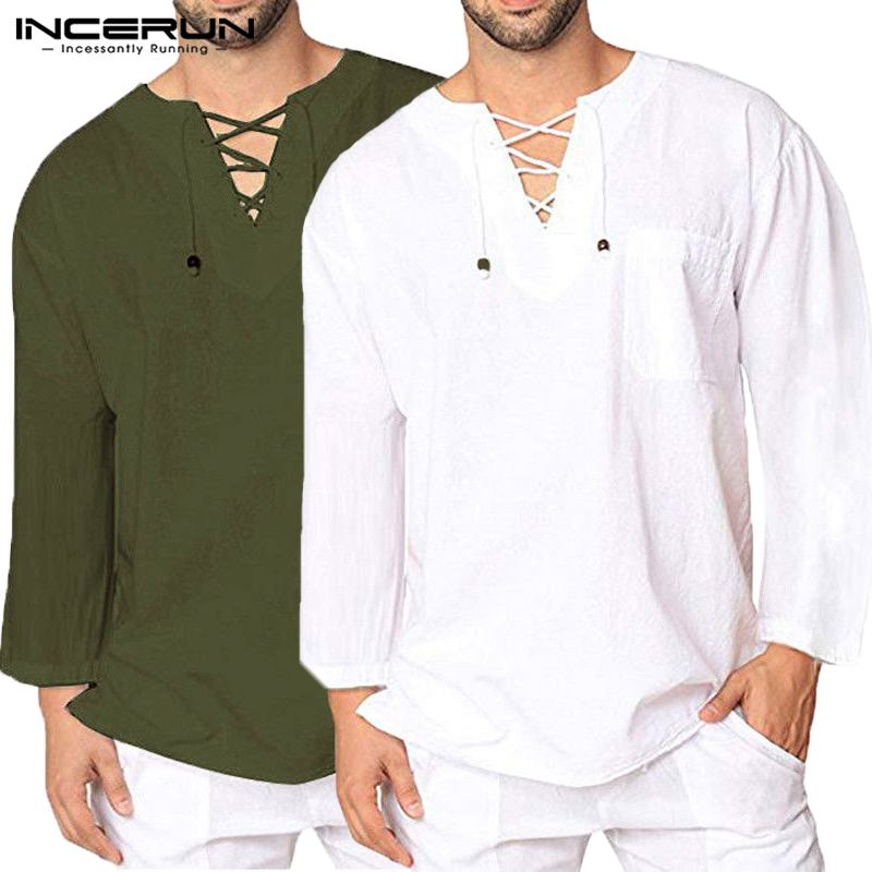 INCERUN Vintage Men T Shirt V-neck Long Sleeve Lace Up Baggy Leisure Male Tee Shirt Retro Solid Color Casual Men T-shirt M-3XL