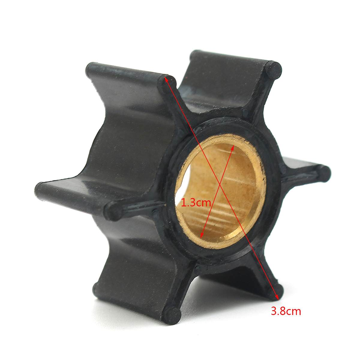 386084 18-3050 500355 Boat <font><b>Outboard</b></font> <font><b>Motors</b></font> Water Pump Impeller For Johnson Evinrude 9.9/<font><b>15HP</b></font> 6 Blades Replacement Rubber Black image