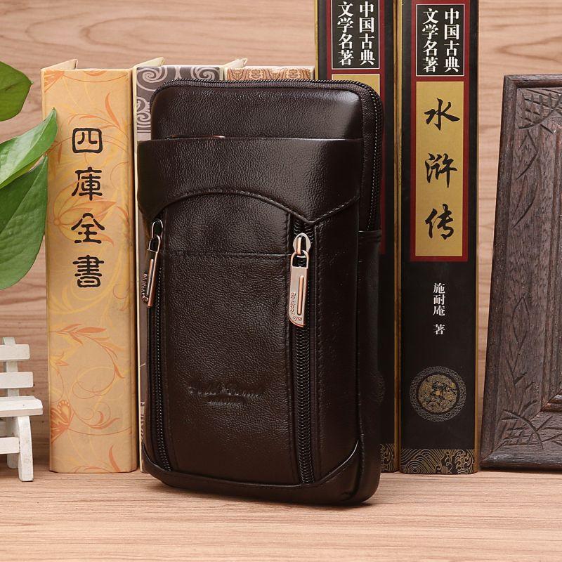 Genuine Leather Belt Hip Shoulder Bags Fanny Pack Purse Hook Bum Casual Men Natural Skin Cell Phone Case Cigarette Waist Bag