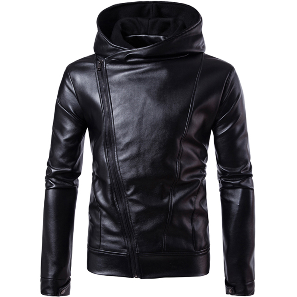 Autumn Winter Warm PU Leather Jacket Men Slim Fit Motorcycle Jacket Hoodied Retro Style Coat Males Casual Cool Outwear Jackets