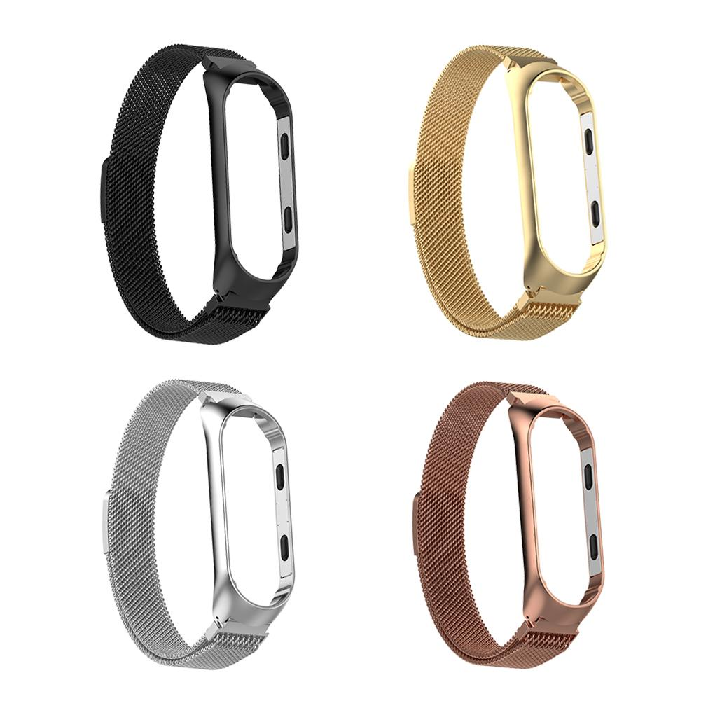 Image 2 - Magnetic Milanese Stainless Steel Watch Band Luxury Wrist Strap For MiBand 3 Smart Bracelet Screwless Easy To Install And Remove-in Smart Accessories from Consumer Electronics
