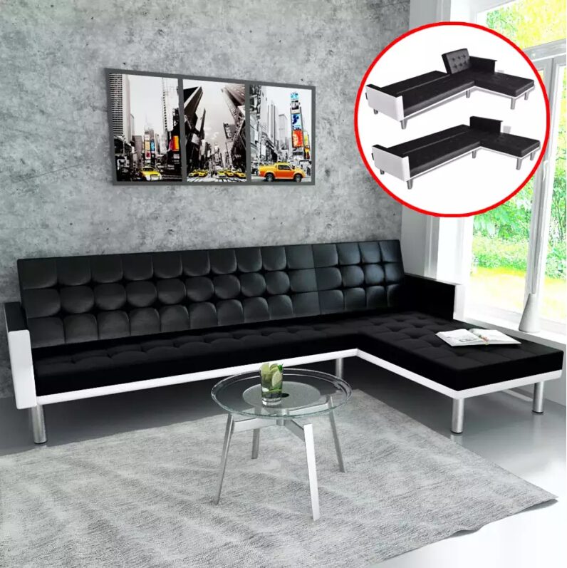 VidaXL Modern Folding Adjustable Corner Sofa With Sleeping Function Imitation Leather Black For Living Room Sofa
