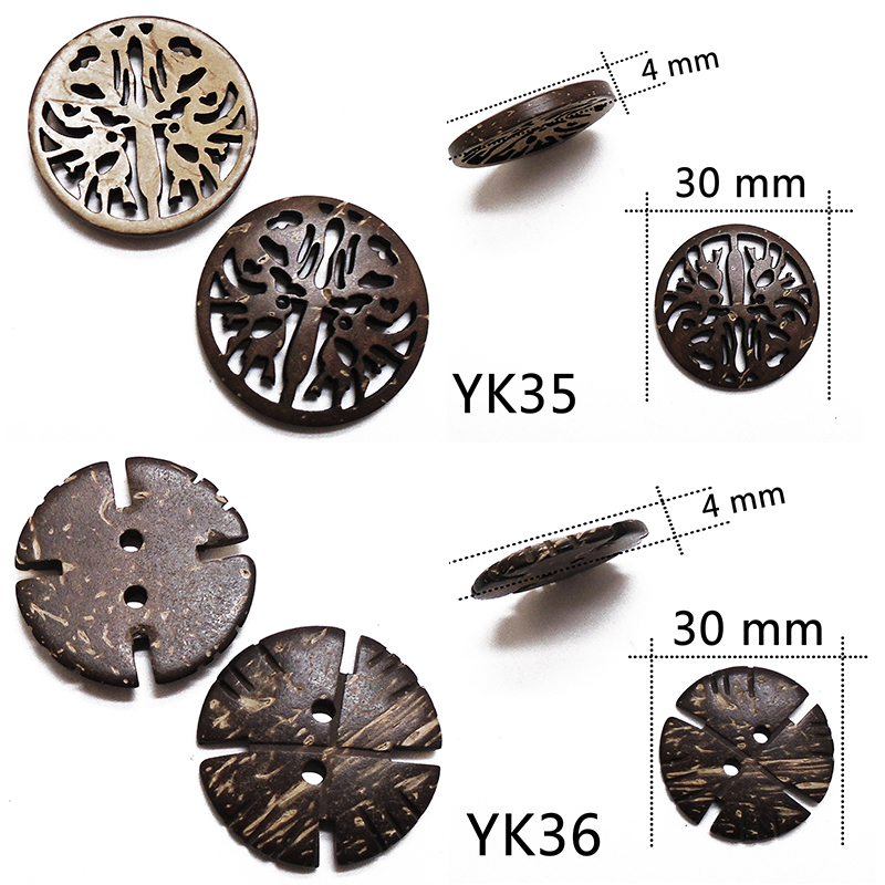 ZIEENE 5PCs 10PCs 20PCs Natural Color Big Buckle Coconut Shell Buttons Sewing Scrapbooking For Handmade Round Button 2 Holes in Buttons from Home Garden
