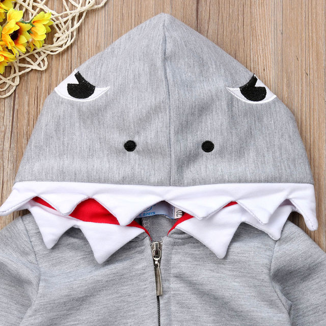 Newborn Infant Baby boy romper Hooded 3D shark dinosaur costume baby Cotton halloween christmas animal jumpsuits one size Kids 2