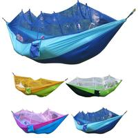 Portable Adult Single Double Hammock Outdoor Travel Camping Hunting Sleeping Bed Picnic Hanging Bed Hammock With Mosquitoe Net|Hammocks| |  -