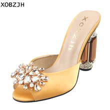 High Heels Women Sandals Shoes 2019 Luxury Genuine Leather Ladies Rhinestone Yellow Wedding Shoes Woman Open Toe Plus Size Us 11 new stylish women sandals 2017 open toe thin heels sandals high quality multicolors shoes woman plus us size 4 15