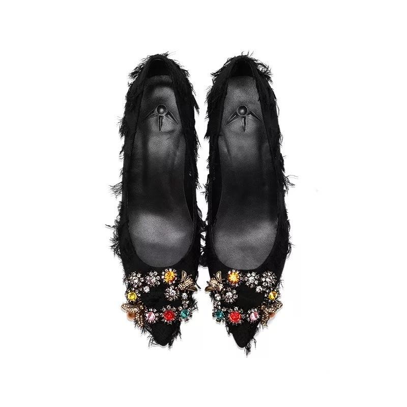 Med Soirée green Talon En 2019 Slip Coton Cuir Robe Black De Mode Véritable Stkehidba Mince Tissu Pompes Et Chaussures on Femmes Escarpins pB1CH6q