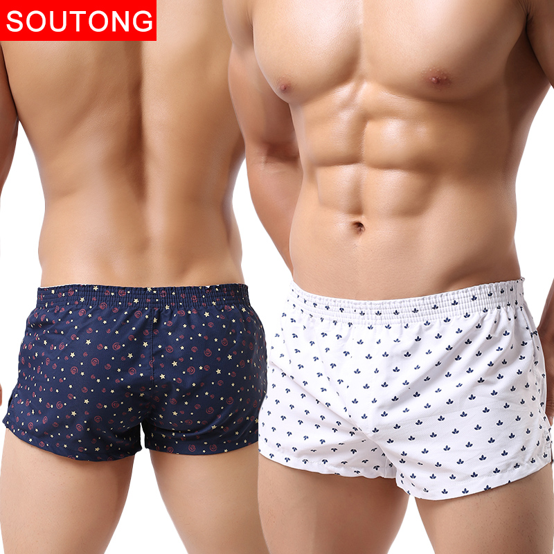 Soutong 2019 Men Underwear Boxer Shorts Trunks Slacks Cotton Men Cueca Boxer Shorts Underwear Printed Men Shorts Underwear Men