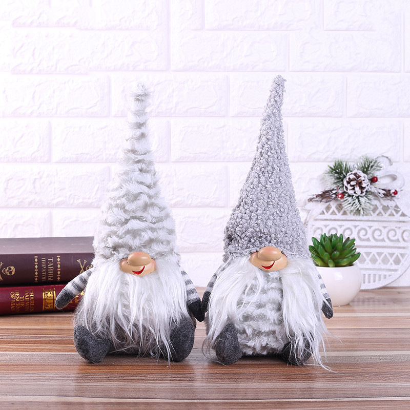 Christmas Decorations New Gray-and-White Forest Man Dolls Window Snowman Arrangements