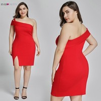 Plus Size Red Gown Short 2019 Pretty New Year Red Formal Dress Fashion EP05852 Split Backless Sexy Cocktail Dresses Vestidos Cocktail Dresses