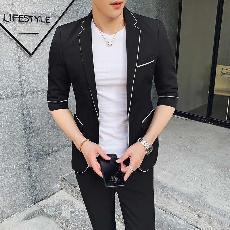 White Suits Mens Black Suits Men Summer Short 2 Pcs Set Korea  Style 2019 Ternos Business Dress Mens Suits Designers Gray