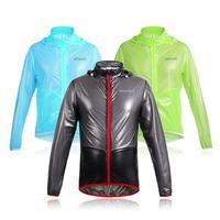 Men Cycling Rain Jacket Casual Solid Hooded Long Sleeve Zipper Bike Jacket Waterproof Raincoat Top Wind Jacket Unisex