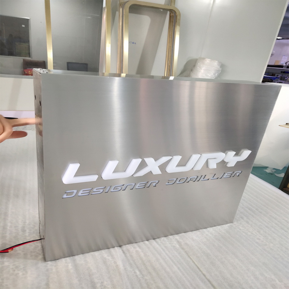 outdoor advertising signage waterproof light box stainless steel LED acylic  frontlit sign light box