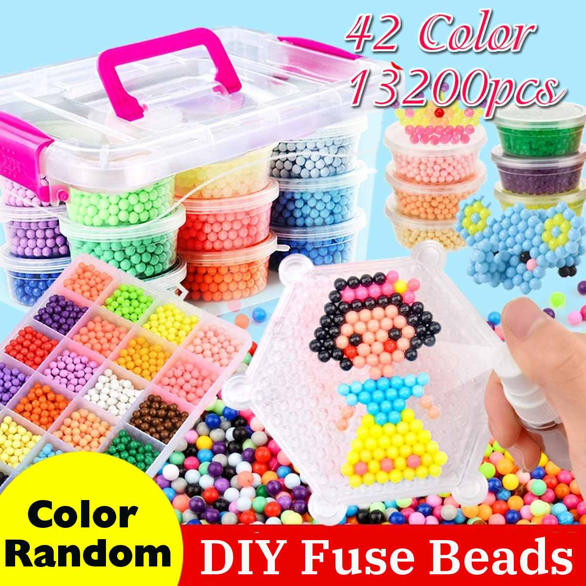 13200pcs 42 Colors DIY 3D Water Magic Beads Fuse Beads Spray Water Puzzle Jigsaw Puzzle Christmas Gifts for Kids Toy
