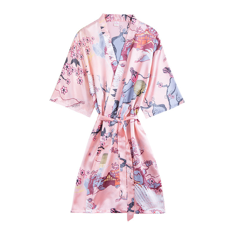 Silk Satin Cherry Blossoms Bathrobe Robe Japanese Style Short Kimono Robe Night Robe Bath Robe Fashion Dressing Gown For Women