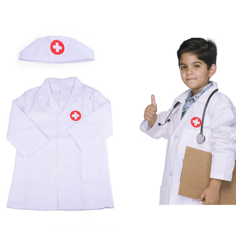 Children Cosplay Doctor Costumes Halloween Party Nurse Wear Fancy Boys Girls Clothing Set Toys Kids Jackets Roleplay Wholesale